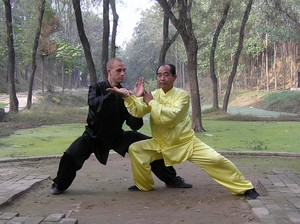 Chen Zhao Sen pushing hands with student